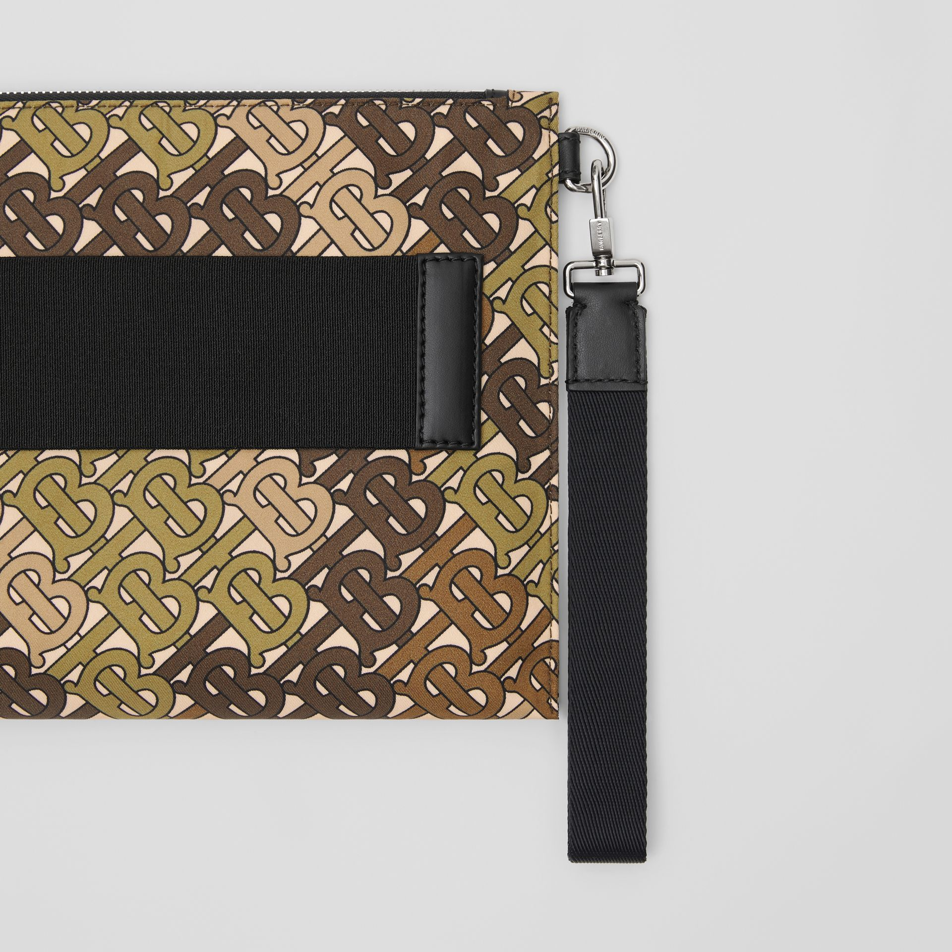 Monogram Print Zip Pouch in Khaki Green - Men | Burberry Canada - gallery image 1