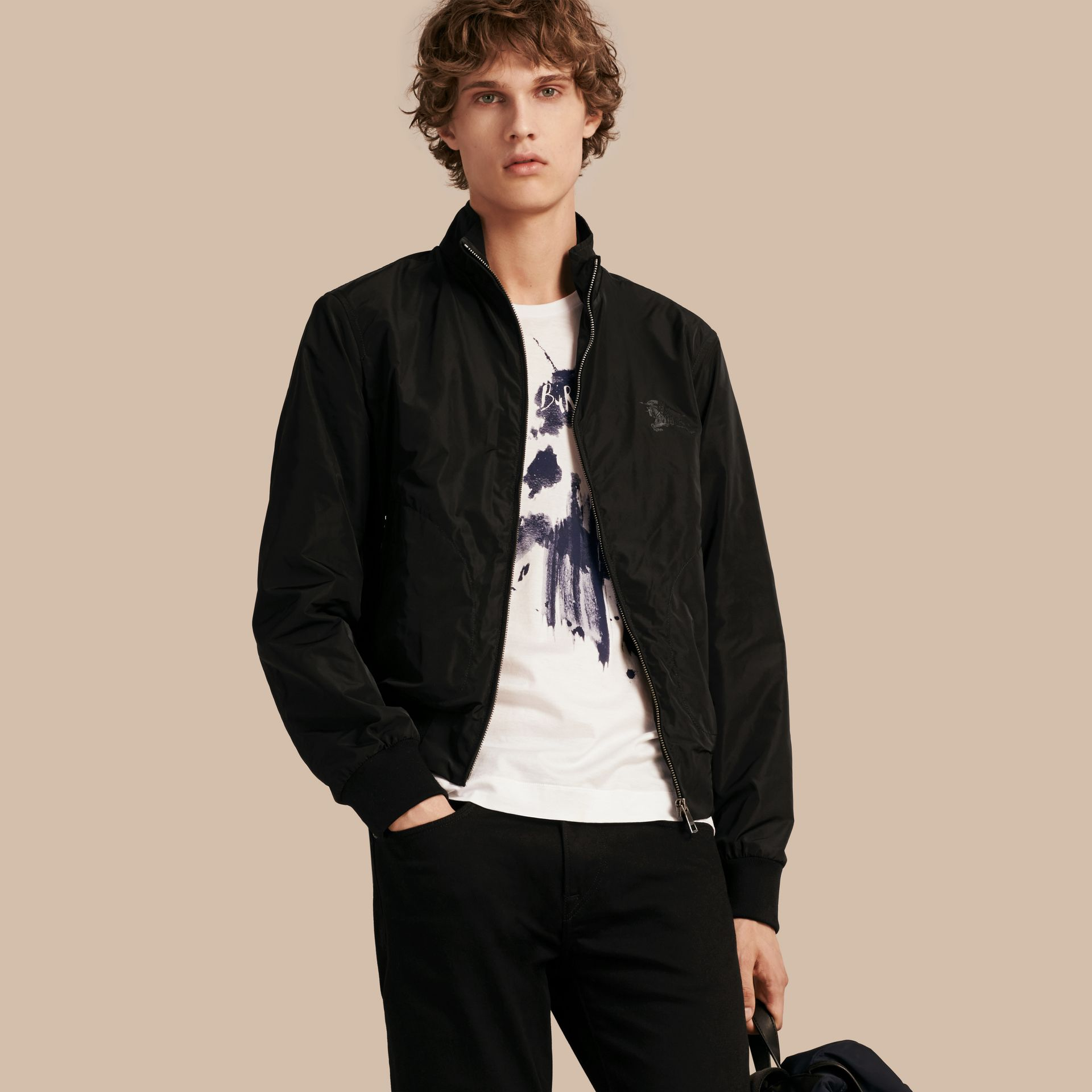Black Zip Front Packaway Jacket Black - gallery image 1