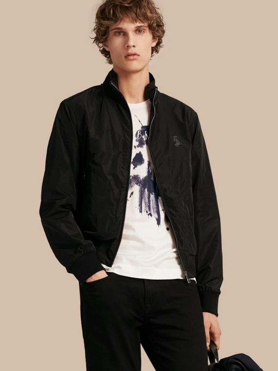 Zip Front Packaway Jacket Black