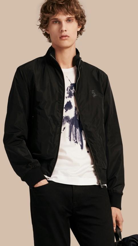 Black Zip Front Packaway Jacket Black - Image 1