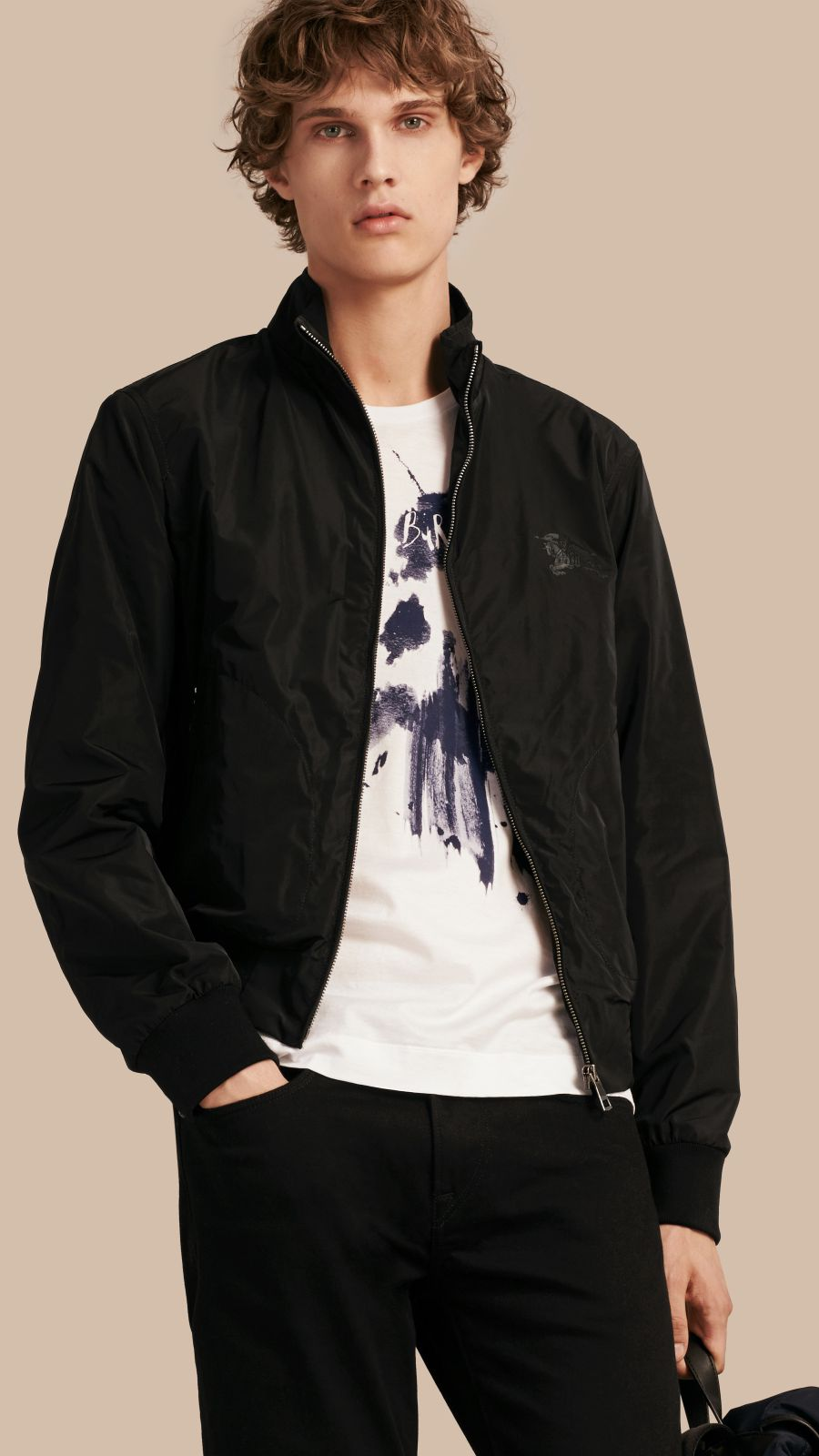 Black Zip Front Packaway Jacket Black - Image 1