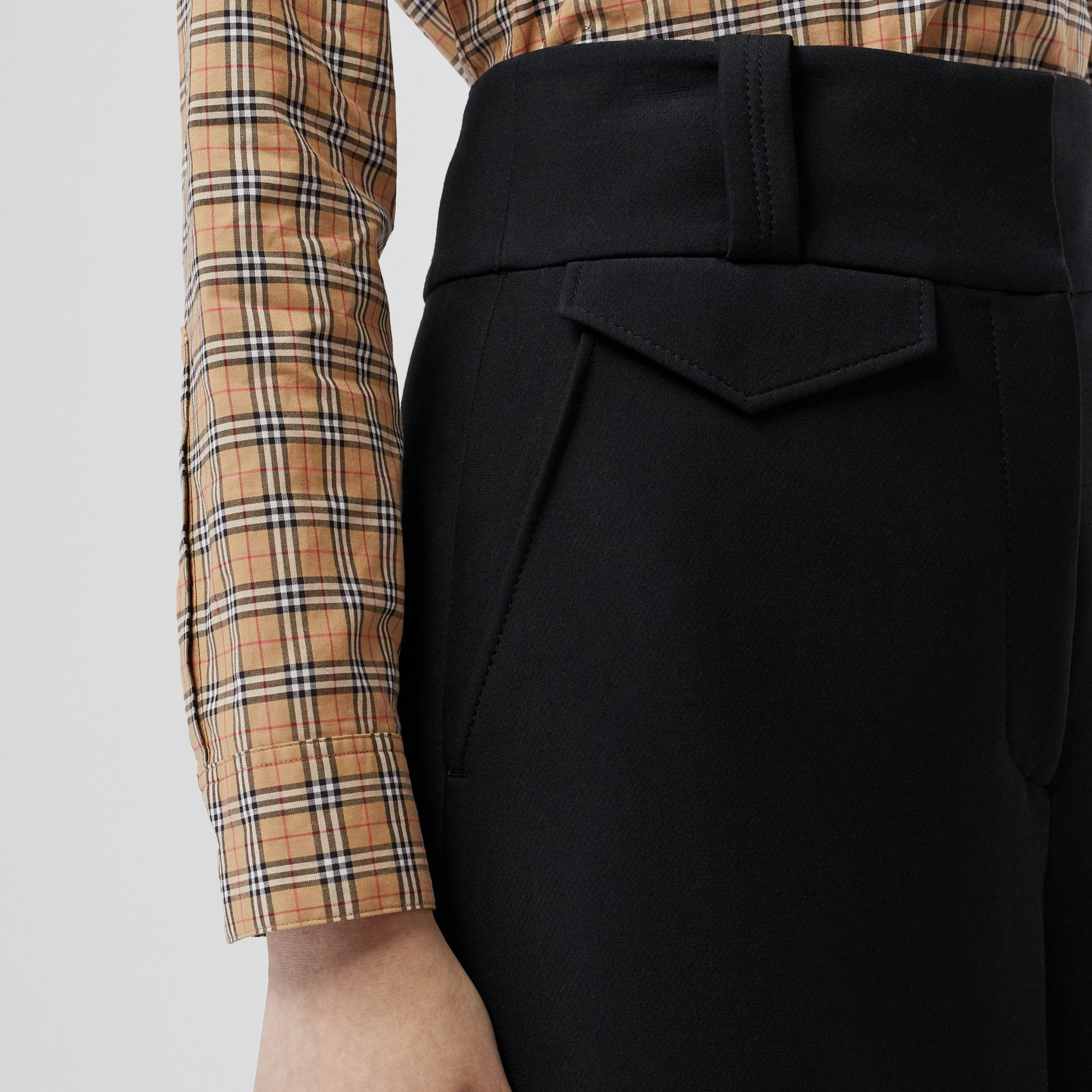 Wool Silk Wide-leg Culottes in Black - Women | Burberry Singapore - gallery image 1