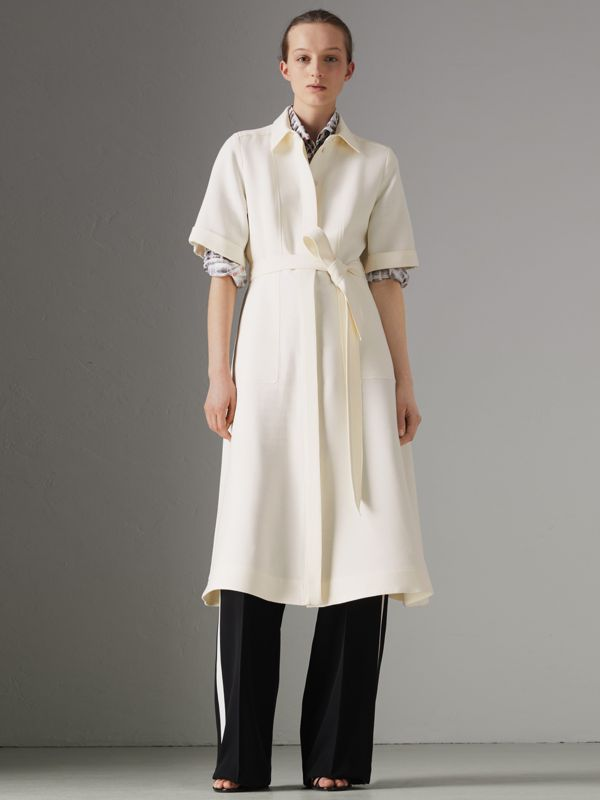 Short-sleeve Wool Silk Shirt Dress in Off White - Women | Burberry Canada - cell image 3