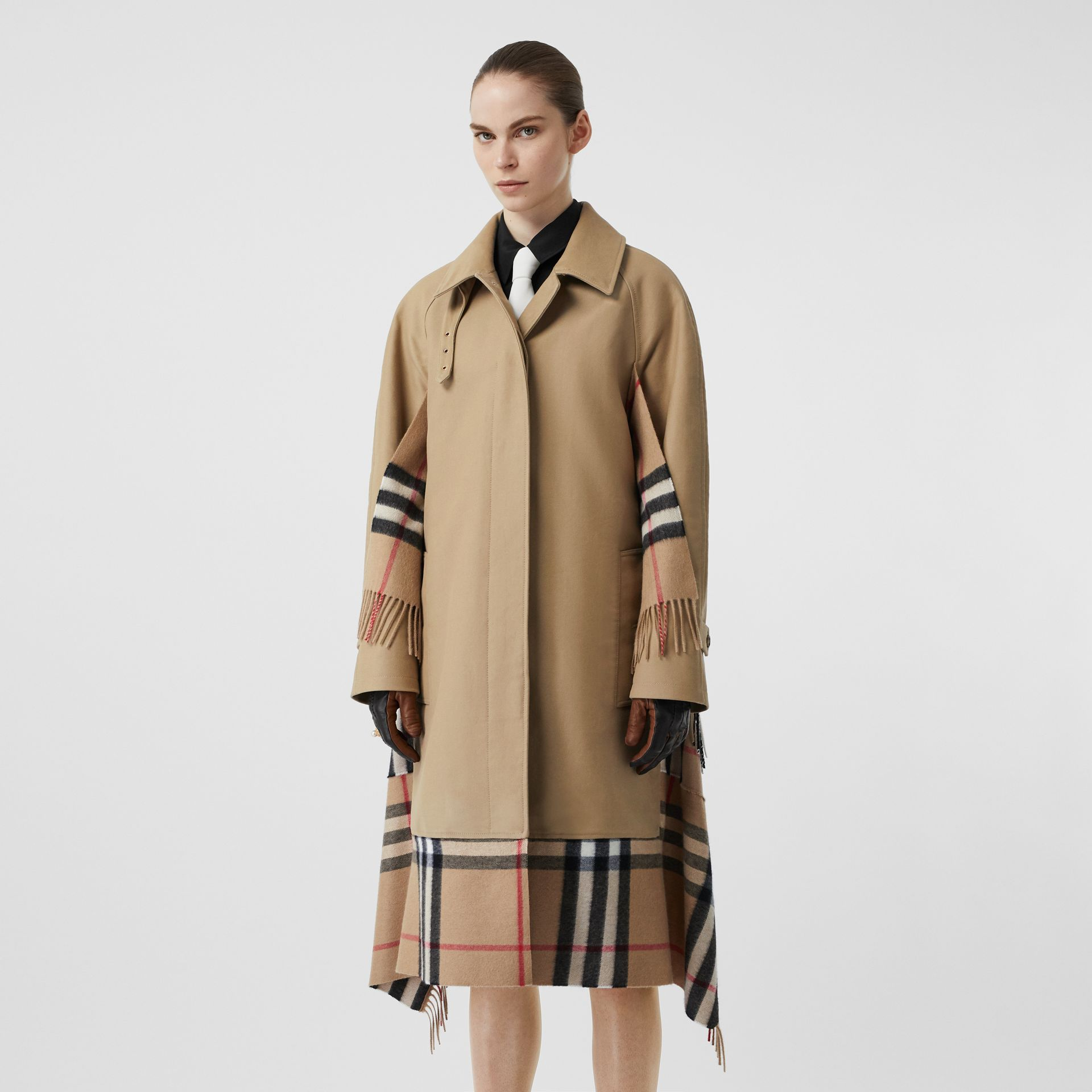 Scarf Detail Cotton Gabardine Car Coat in Honey - Women | Burberry - gallery image 5