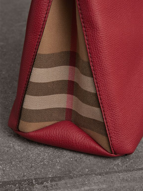 The Medium Banner in Leather and House Check in Russet Red - Women | Burberry - cell image 1