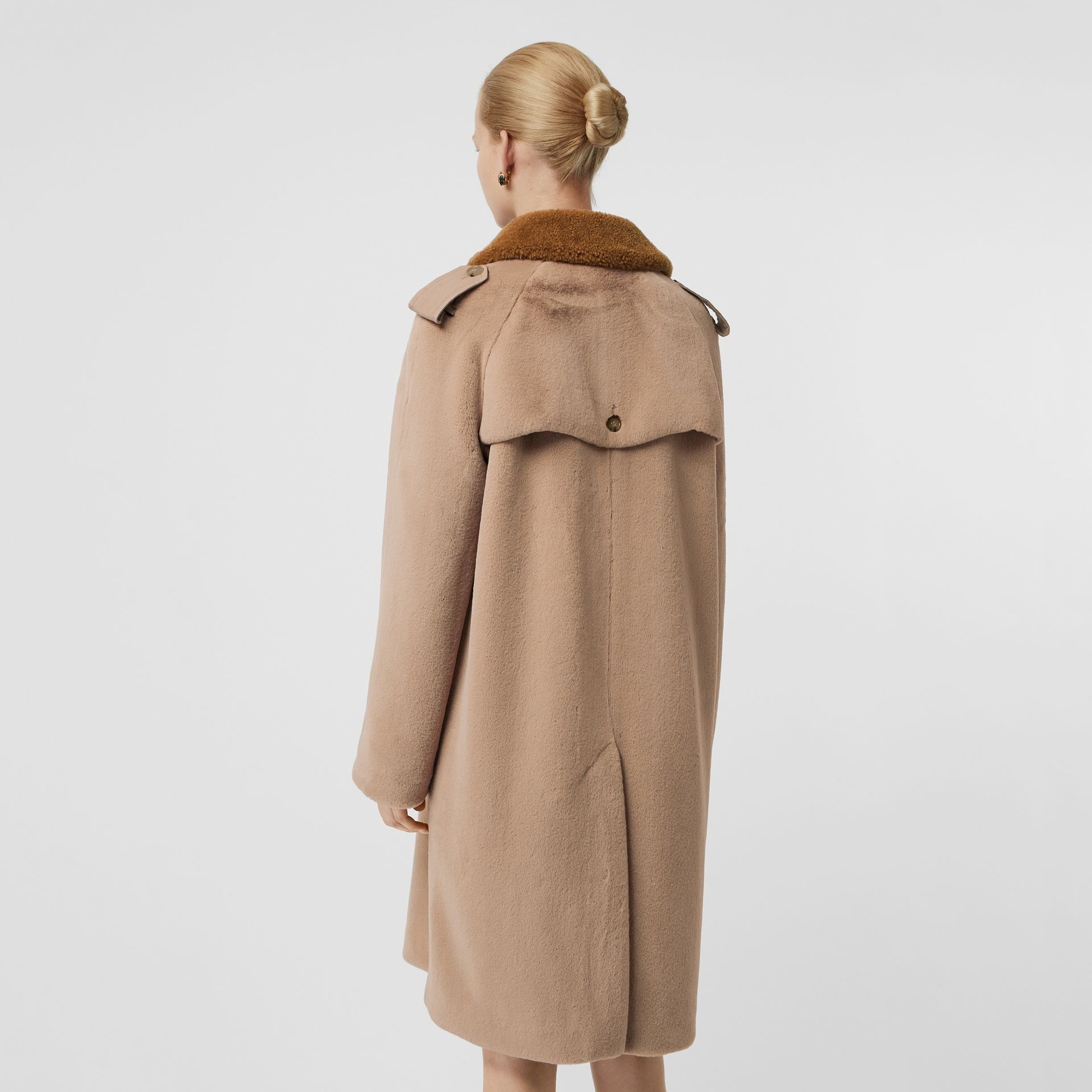 Shearling Trim Faux Fur Trench Coat in Taupe - Women | Burberry Singapore - gallery image 2