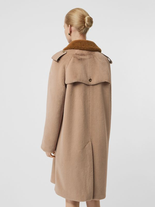 Shearling Trim Faux Fur Trench Coat in Taupe - Women | Burberry - cell image 2