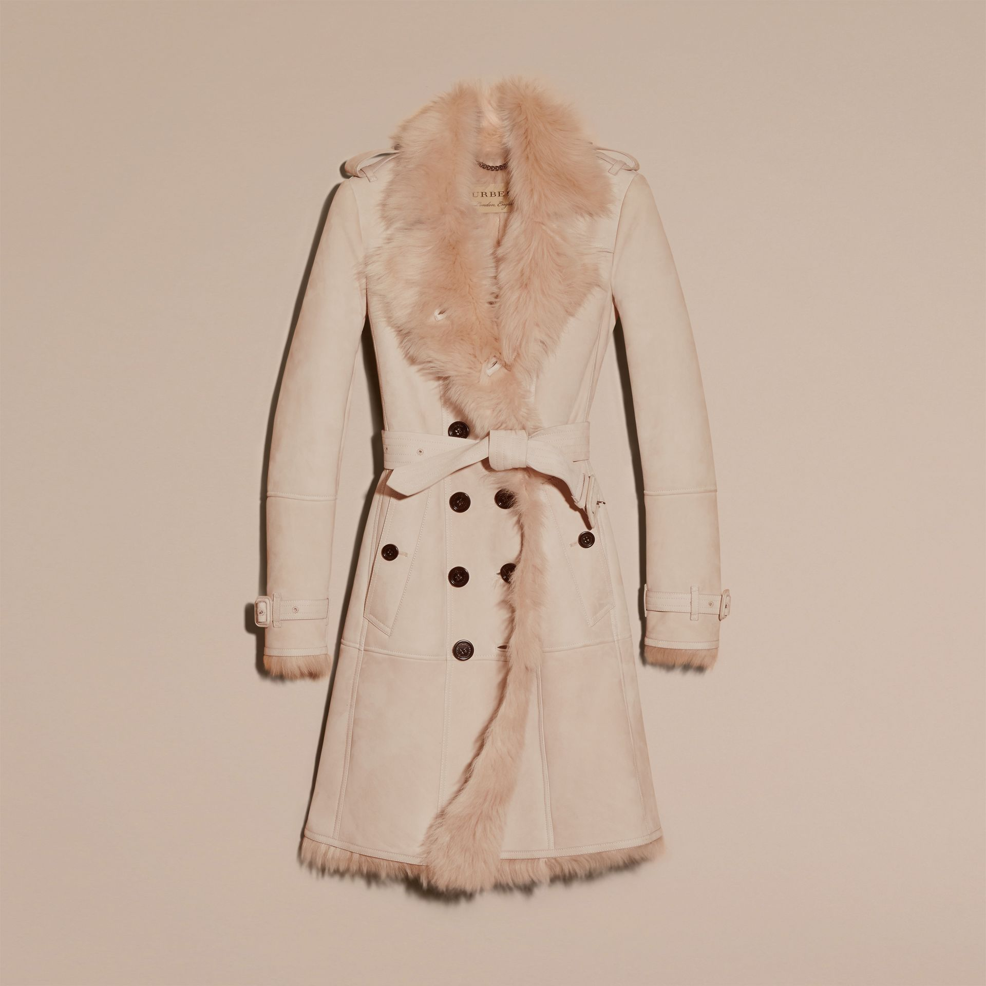 Chalk pink Shearling Trench Coat Chalk Pink - gallery image 4