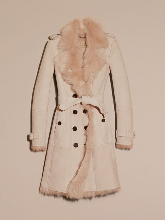 Rose craie Trench-coat en shearling Rose Craie - cell image 3