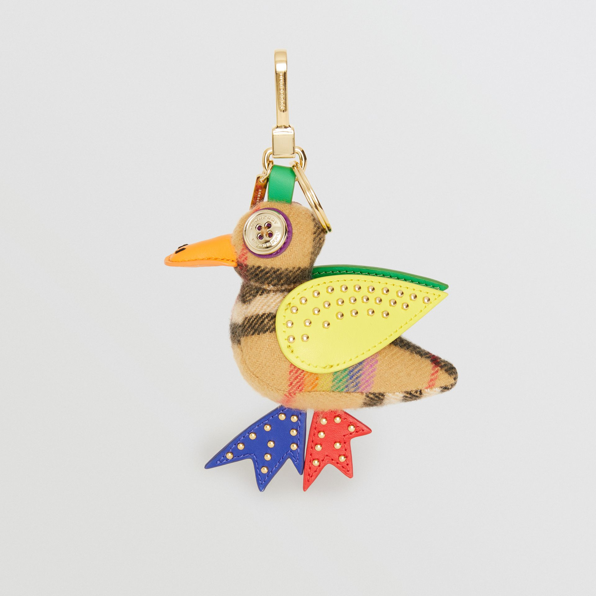 Barry The Duck Rainbow Vintage Check Charm in Multicolour/antique Yellow | Burberry Australia - gallery image 2