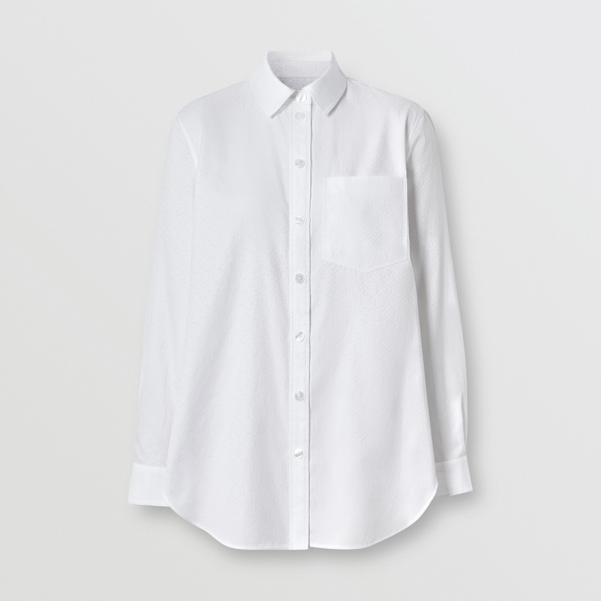 Monogram Cotton Jacquard Shirt in Optic White - Women | Burberry - gallery image 3