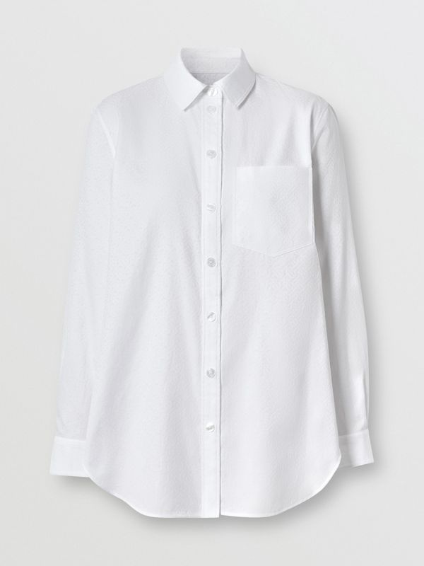 Monogram Cotton Jacquard Shirt in Optic White - Women | Burberry Canada - cell image 3