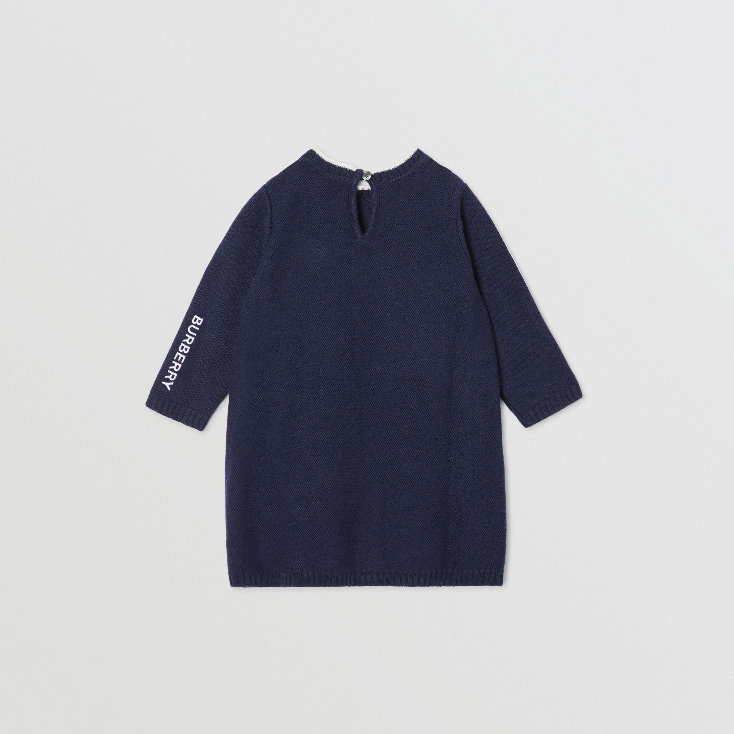 Thomas Bear Detail Wool Cashmere Sweater Dress in Navy - Children | Burberry - 4