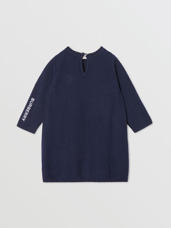 Thomas Bear Detail Wool Cashmere Sweater Dress in Navy - Children | Burberry - cell image 3