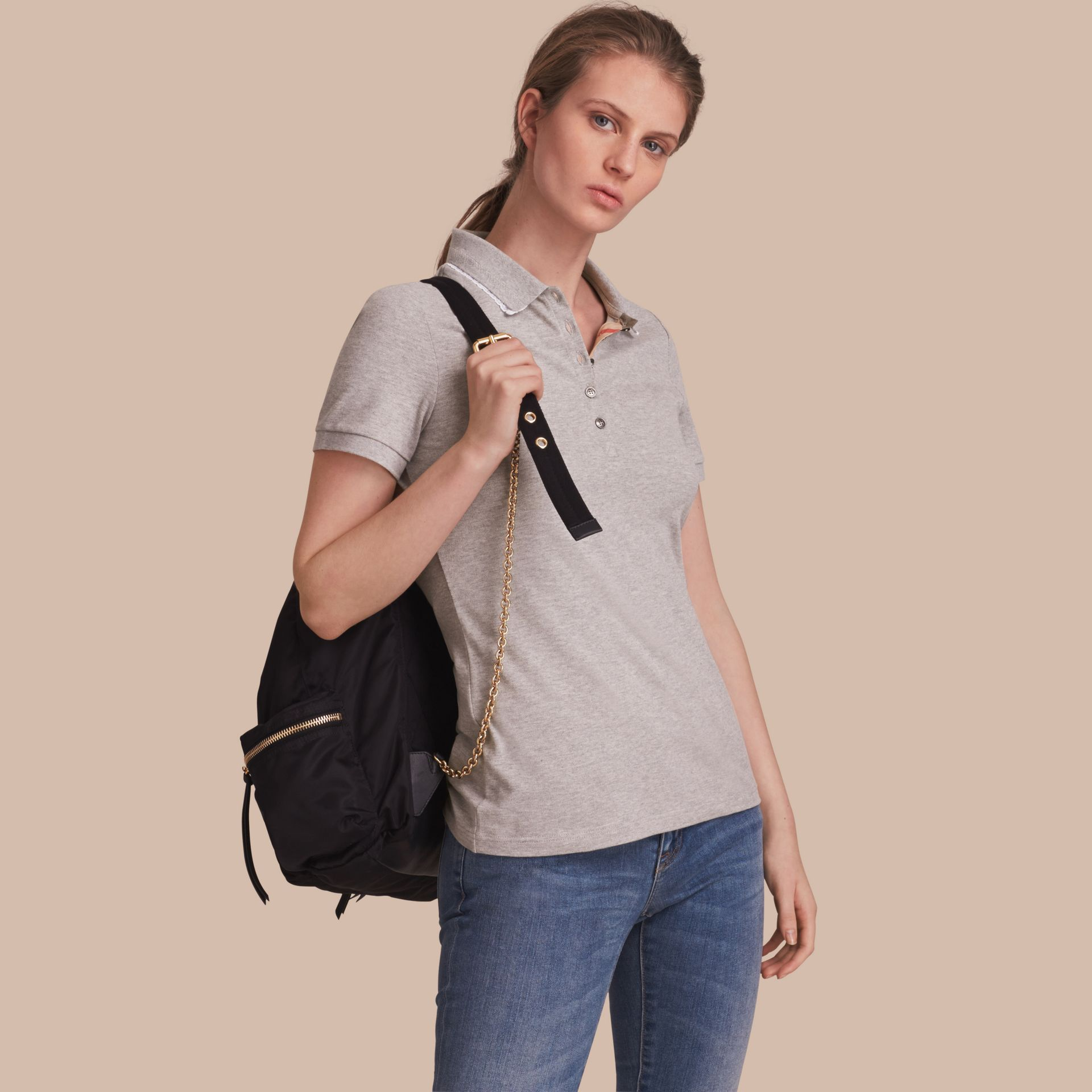 Lace Trim Cotton Blend Polo Shirt with Check Detail in Pale Grey Melange - Women | Burberry Singapore - gallery image 1