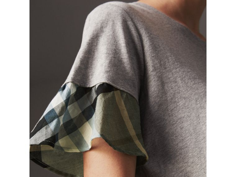 Flared-sleeve Check Detail Cotton T-shirt in Pale Grey Melange - Women | Burberry Australia - cell image 1
