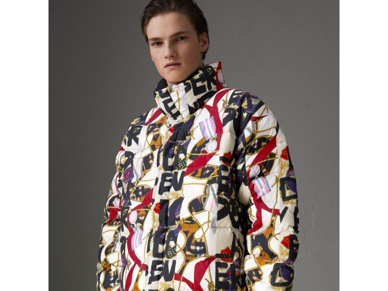 Graffiti Archive Scarf Print Down-filled Puffer Jacket in Stone - Men | Burberry - cell image 4
