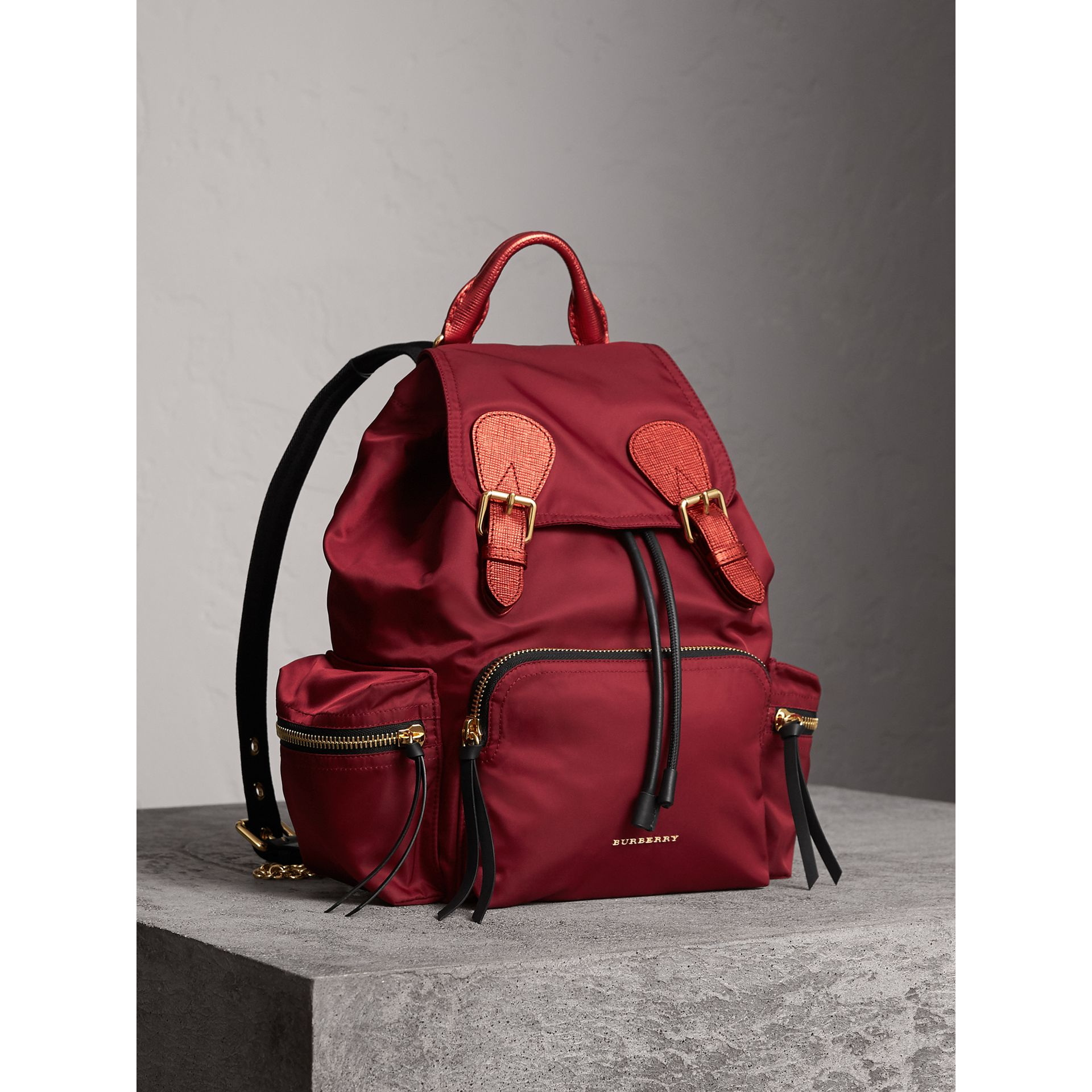 The Medium Rucksack in Technical Nylon and Leather in Crimson Red - Women | Burberry Canada - gallery image 0