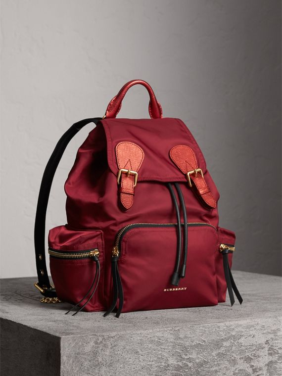 The Medium Rucksack in Technical Nylon and Leather in Crimson Red