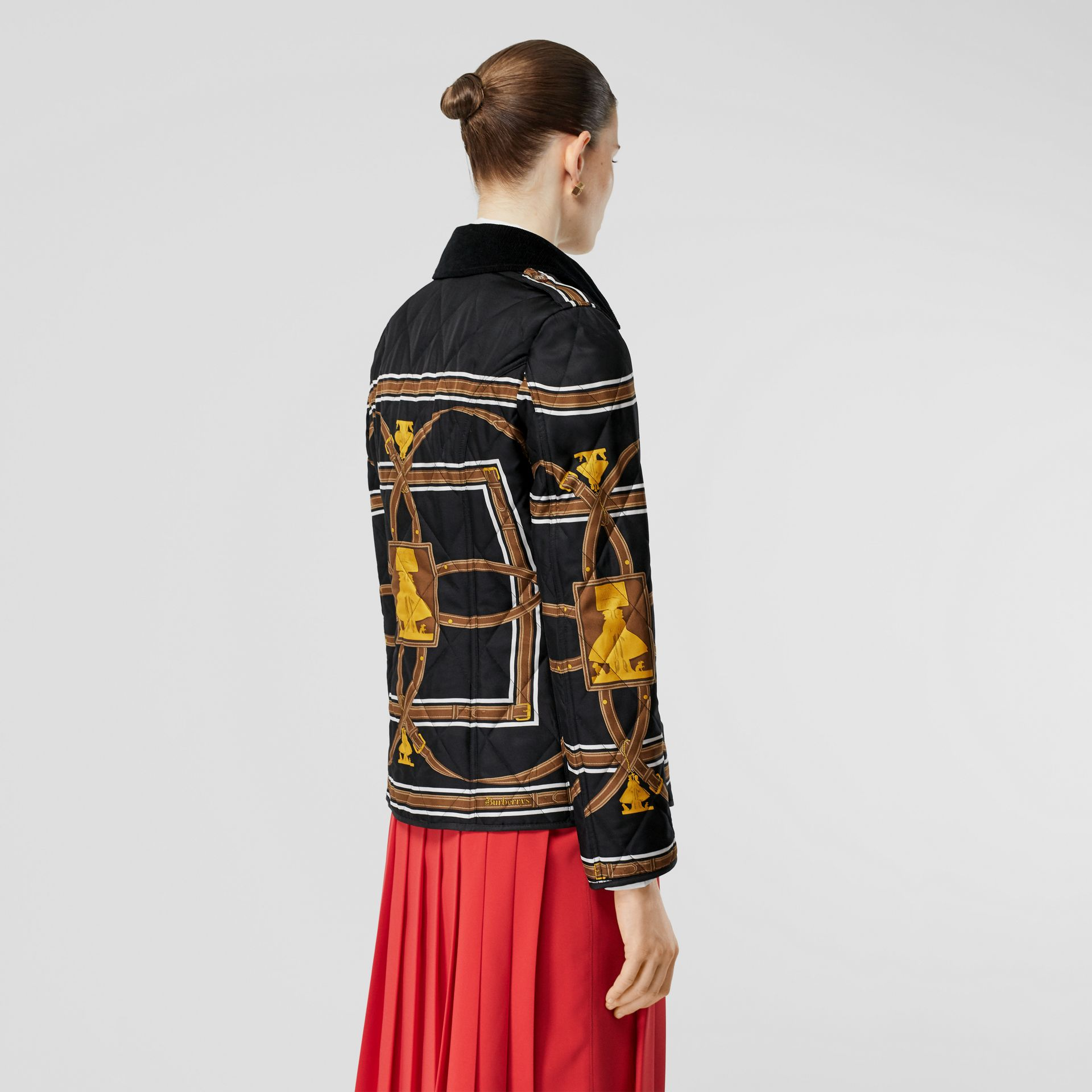 Archive Scarf Print Diamond Quilted Jacket in Black - Women | Burberry Australia - gallery image 2