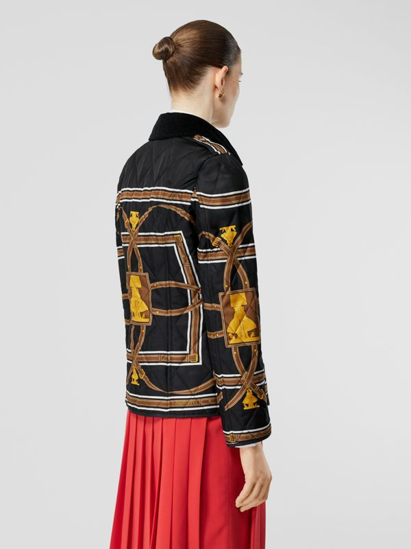 Archive Scarf Print Diamond Quilted Jacket in Black - Women | Burberry - cell image 2