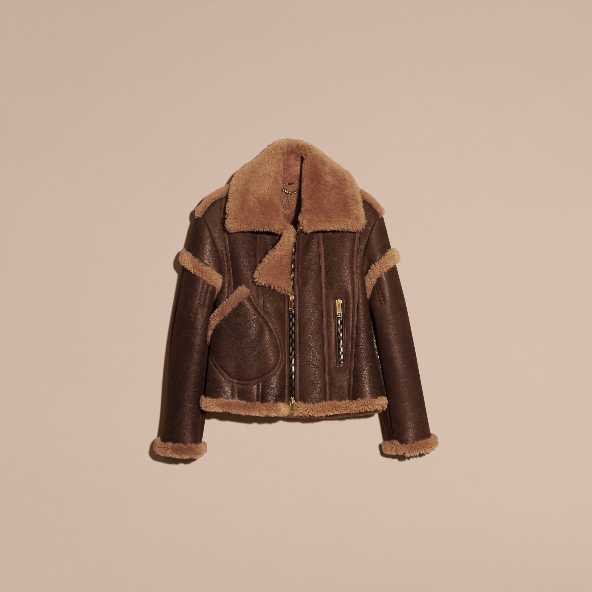 Dark tan/white Sculptural Shearling Flight Jacket - gallery image 4