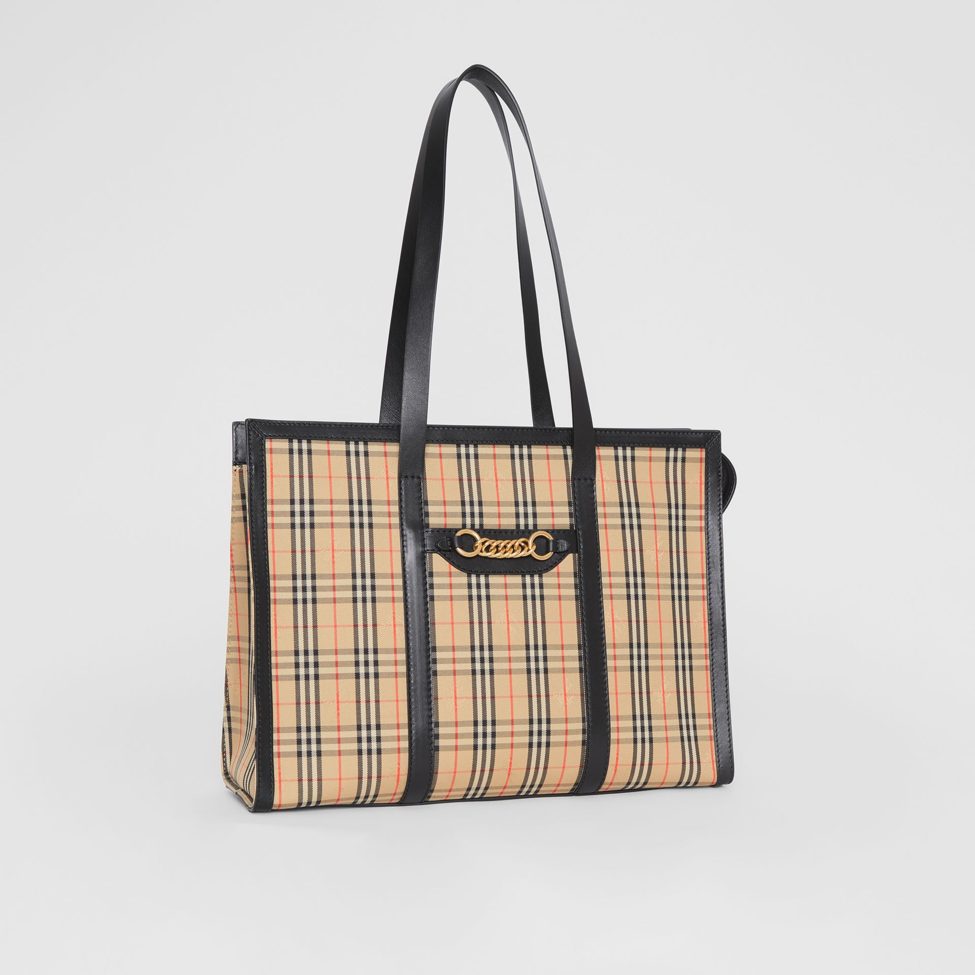 The 1983 Check Link Tote Bag in Black - Women | Burberry United Kingdom - gallery image 6