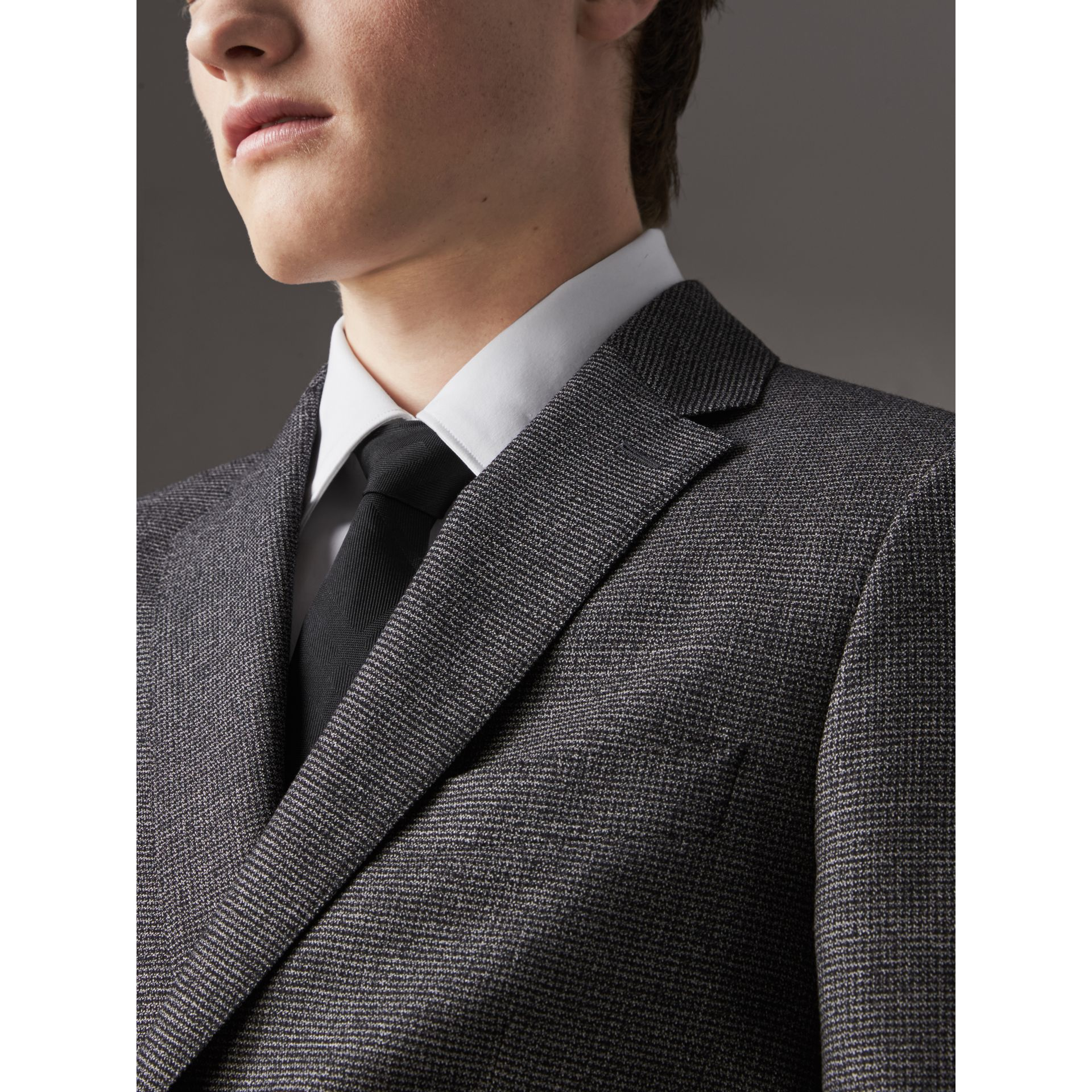 Slim Cut Check Silk Tie in Black - Men | Burberry Australia - gallery image 2