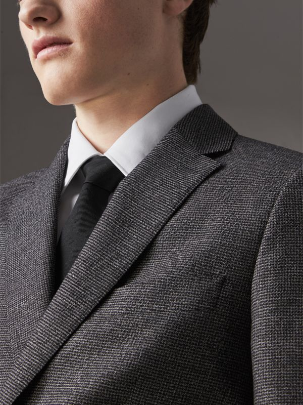 Slim Cut Check Silk Tie in Black - Men | Burberry - cell image 2