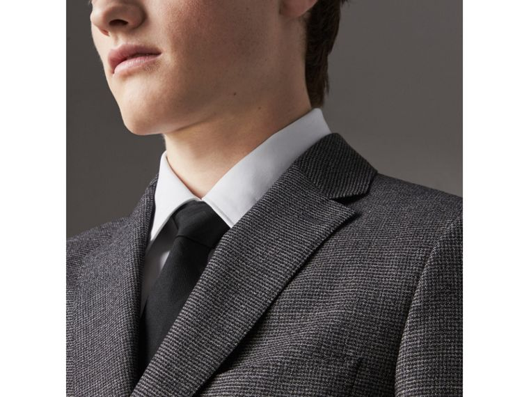 Slim Cut Check Silk Tie in Black - Men | Burberry United States - cell image 2