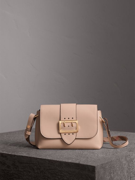 The Buckle Crossbody Bag in Leather in Limestone - Women | Burberry