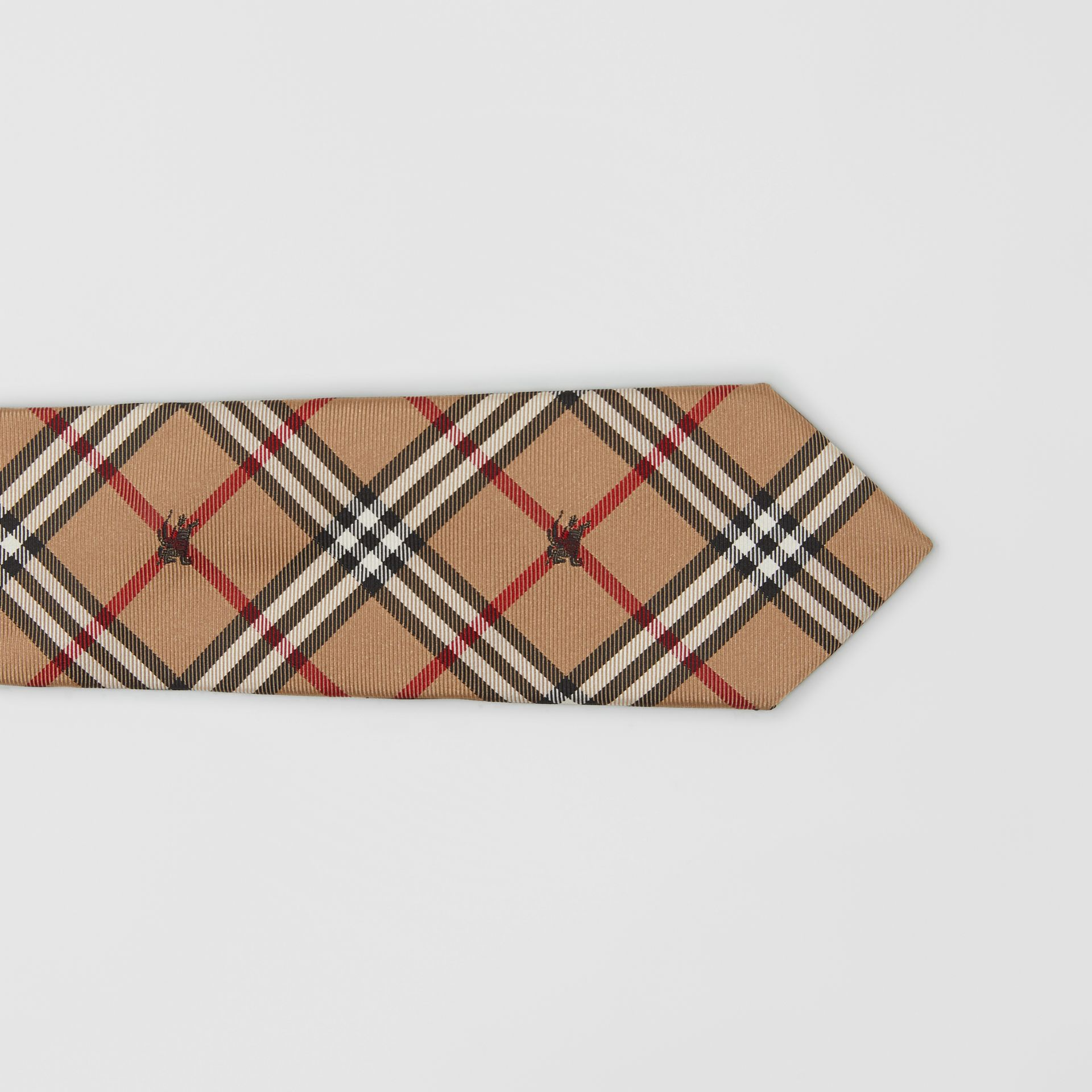 Slim Cut Equestrian Knight Check Silk Tie in Camel - Men | Burberry - gallery image 1