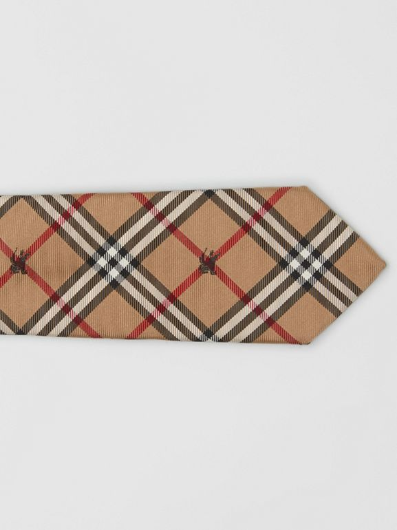 Slim Cut Equestrian Knight Check Silk Tie in Camel - Men | Burberry - cell image 1