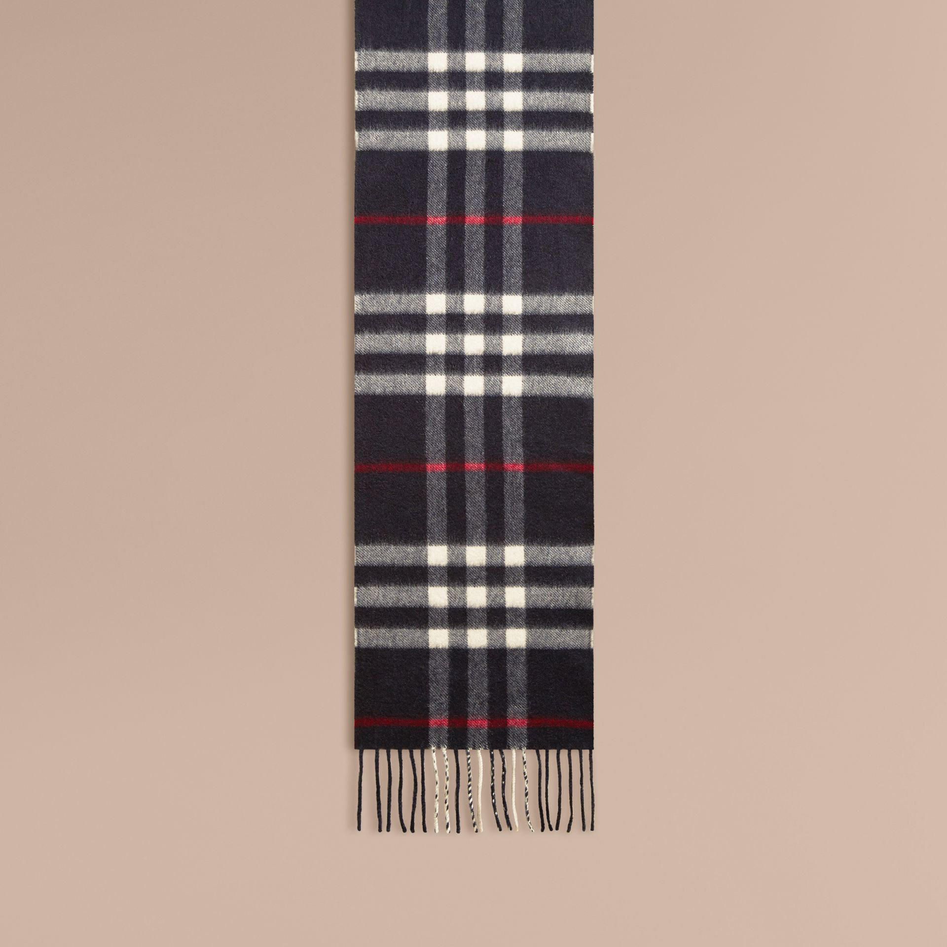 Navy The Mini Classic Cashmere Scarf in Check Navy - gallery image 3