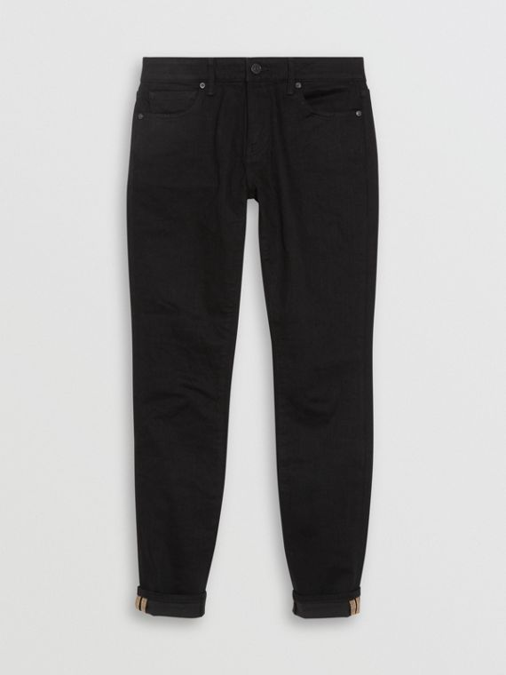 Calças de tecido jeans japonês com corte skinny e detalhe em xadrez (Preto)