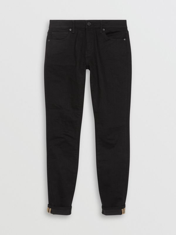 Check Detail Skinny Fit Japanese Denim Jeans in Black - Women | Burberry United Kingdom - cell image 3