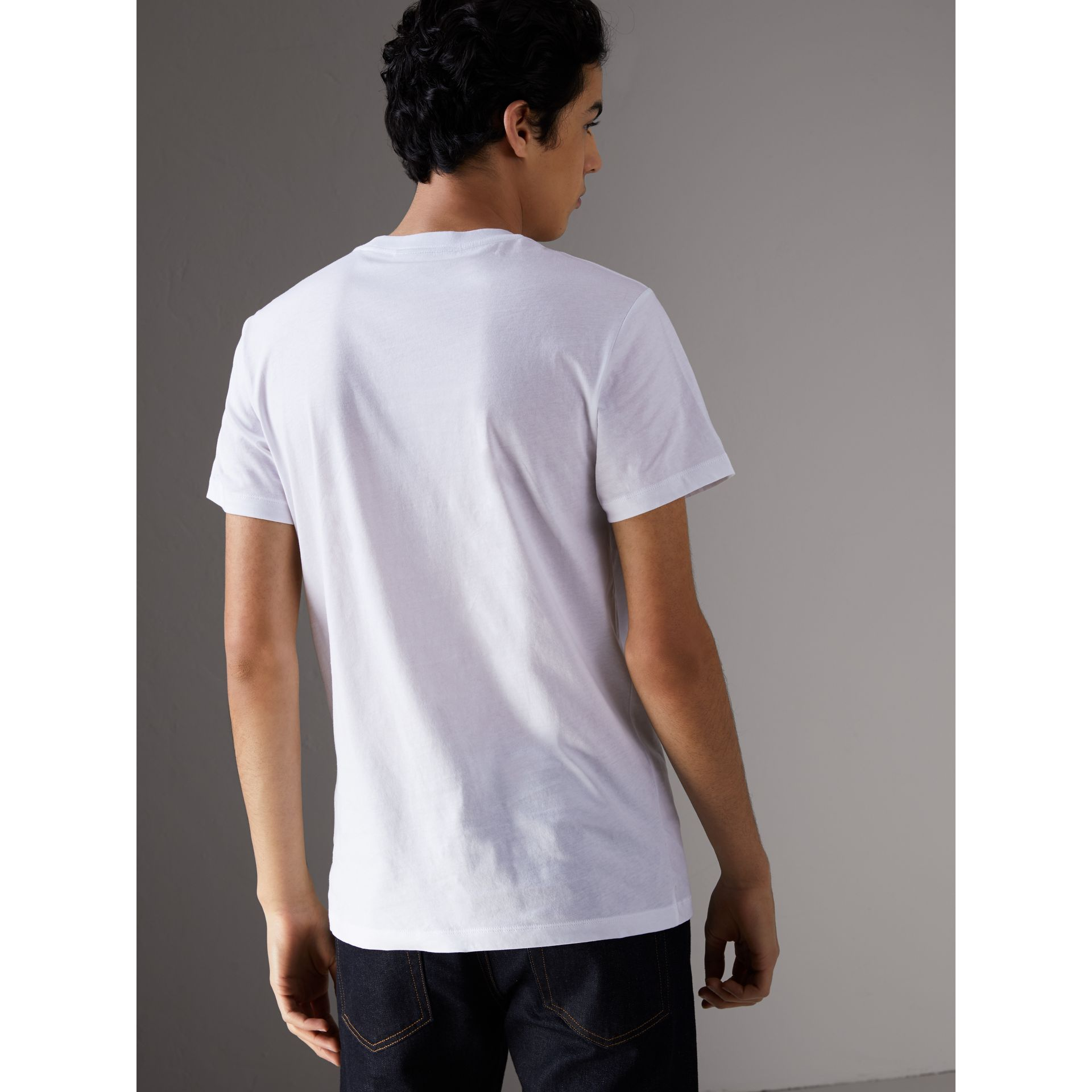 Creature Motif Cotton T-shirt in White - Men | Burberry - gallery image 3