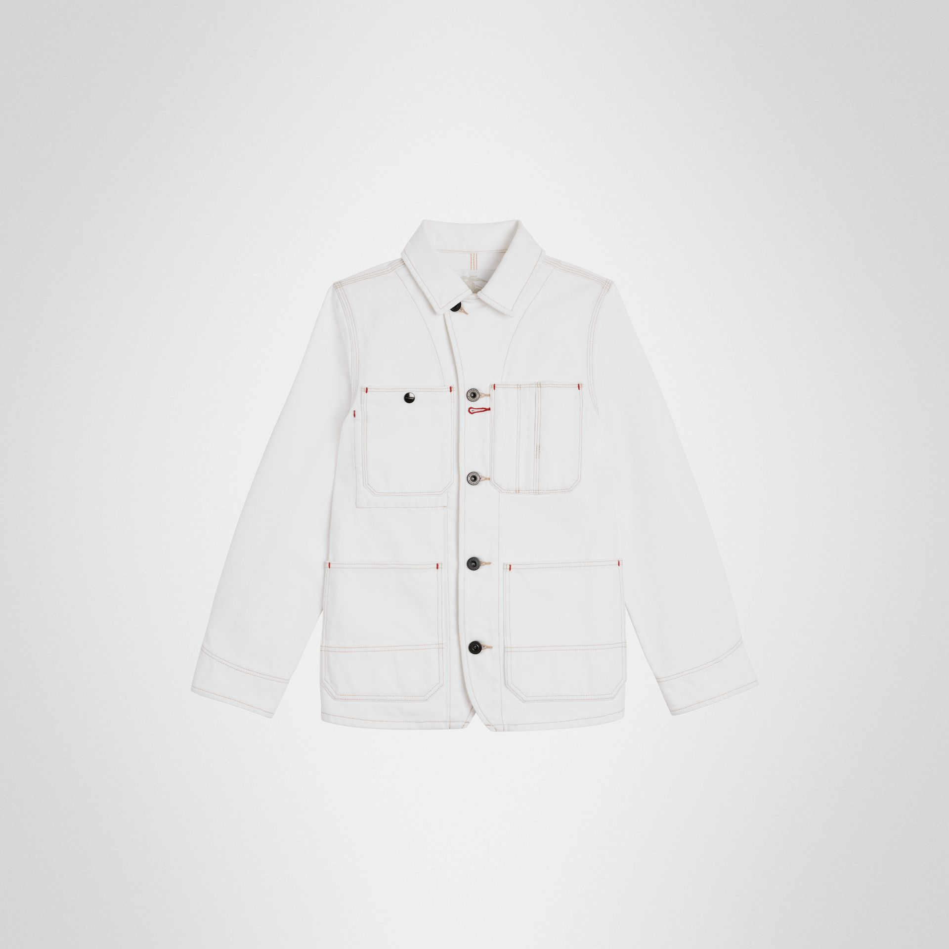 Topstitched Denim Jacket in Natural White | Burberry - gallery image 0