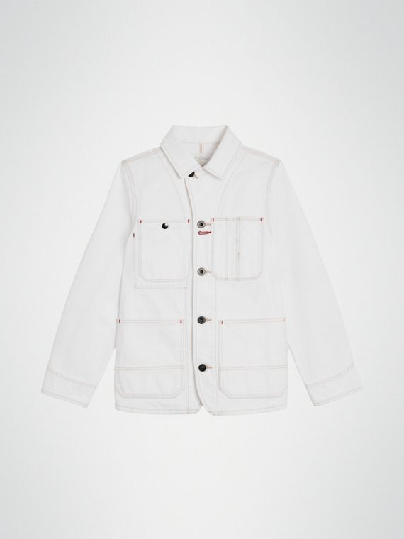 Veste en denim surpiqué (Blanc Naturel)