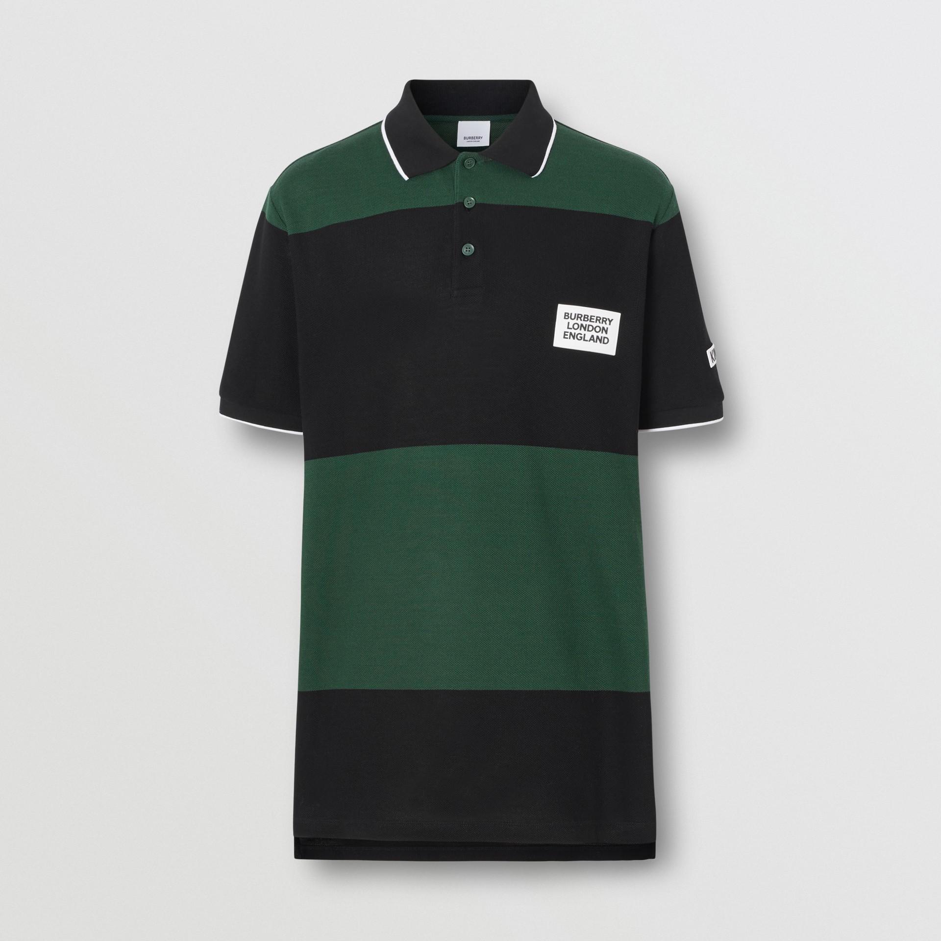 Logo Appliqué Striped Cotton Polo Shirt in Dark Pine Green - Men | Burberry United Kingdom - gallery image 3