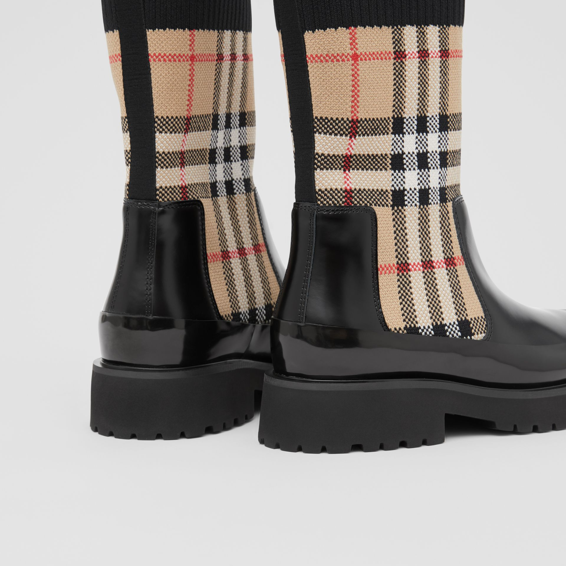 Vintage Check Knit Sock Leather Chelsea Boots in Archive Beige - Children | Burberry - gallery image 1
