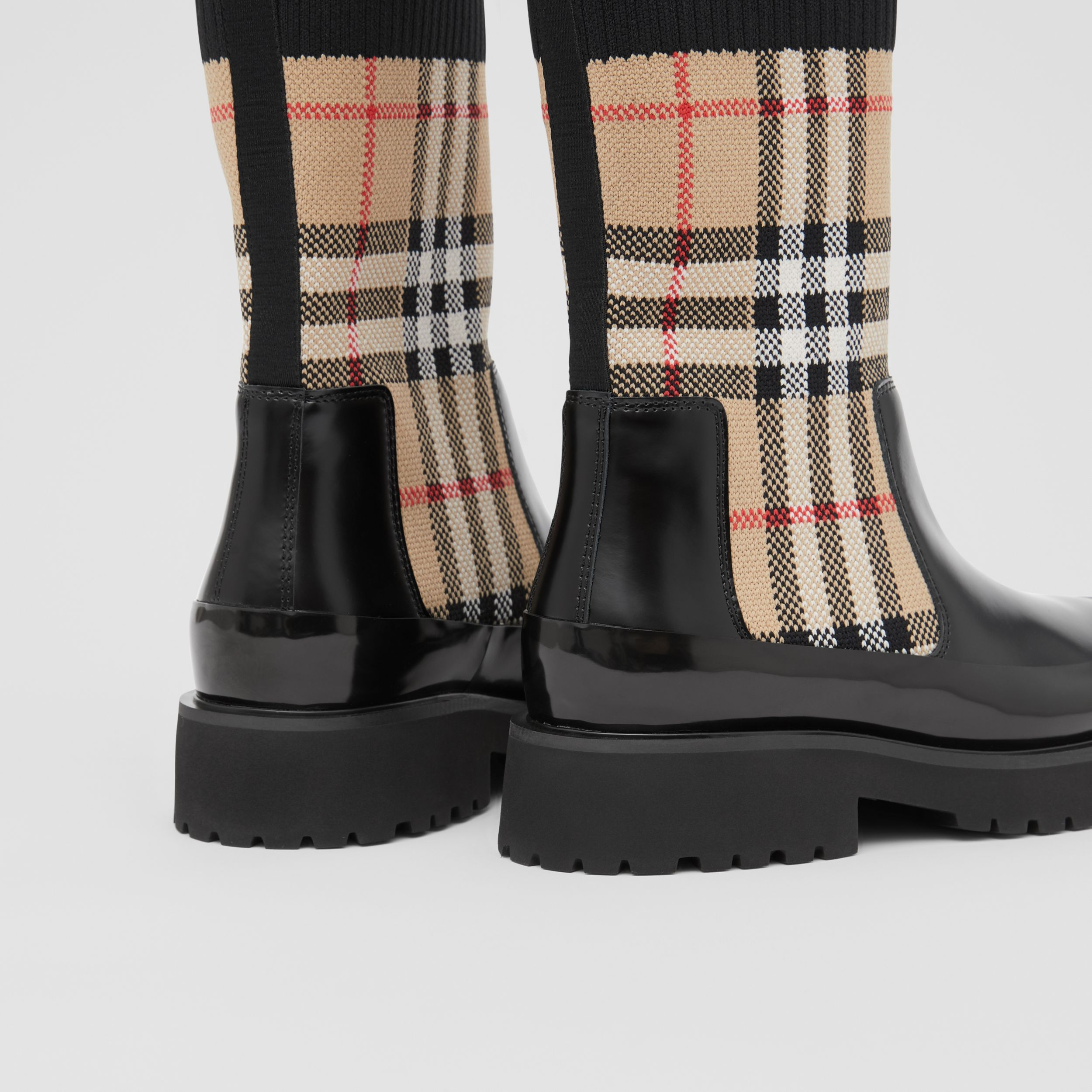 Vintage Check Knit Sock Leather Chelsea Boots in Archive Beige - Children | Burberry - 2