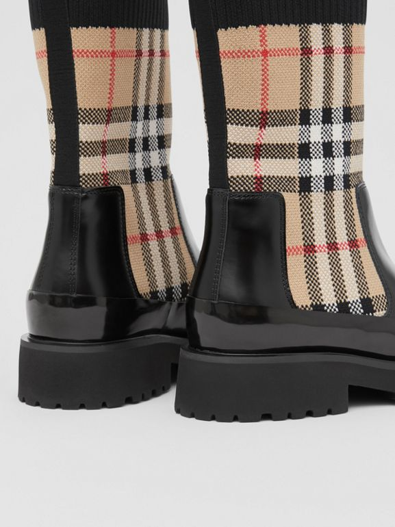 Vintage Check Knit Sock Leather Chelsea Boots in Archive Beige - Children | Burberry - cell image 1