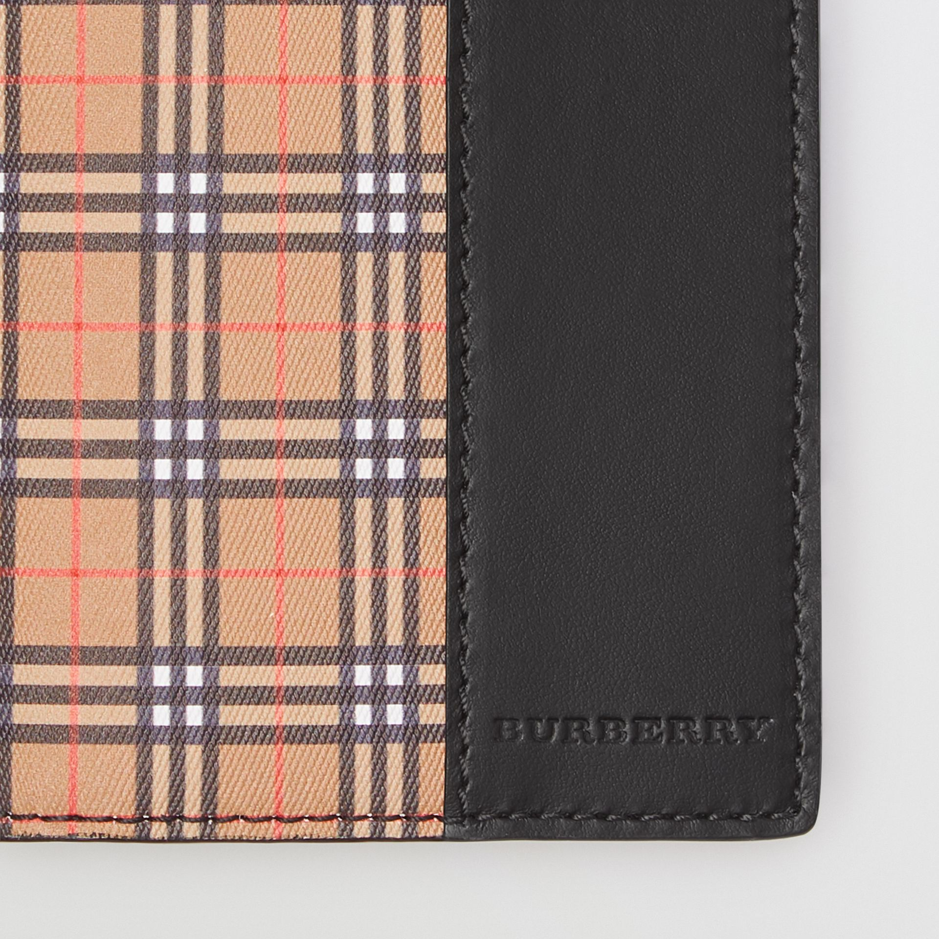 Small Scale Check and Leather Continental Wallet in Antique Yellow/black | Burberry - gallery image 1