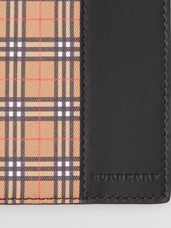 Small Scale Check and Leather Continental Wallet in Antique Yellow/black - Men | Burberry - cell image 1