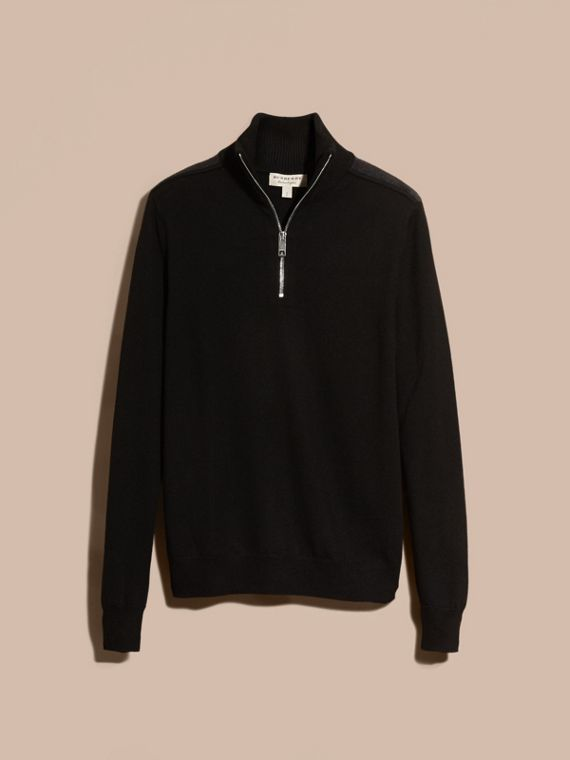 Black Zip-collar Merino Wool Sweater Black - cell image 3