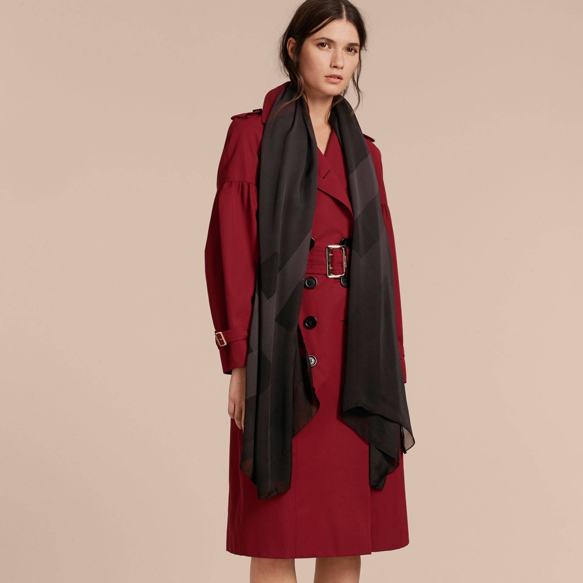 Ombré Washed Check Silk Scarf in Charcoal - Women | Burberry Singapore - gallery image 3