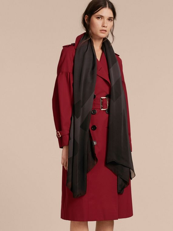 Ombré Washed Check Silk Scarf in Charcoal - Women | Burberry Singapore - cell image 2