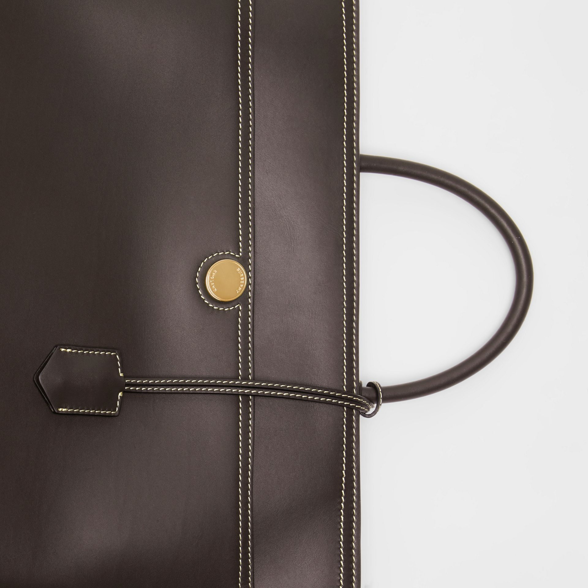 Leather Society Top Handle Bag in Coffee - Women | Burberry - gallery image 1