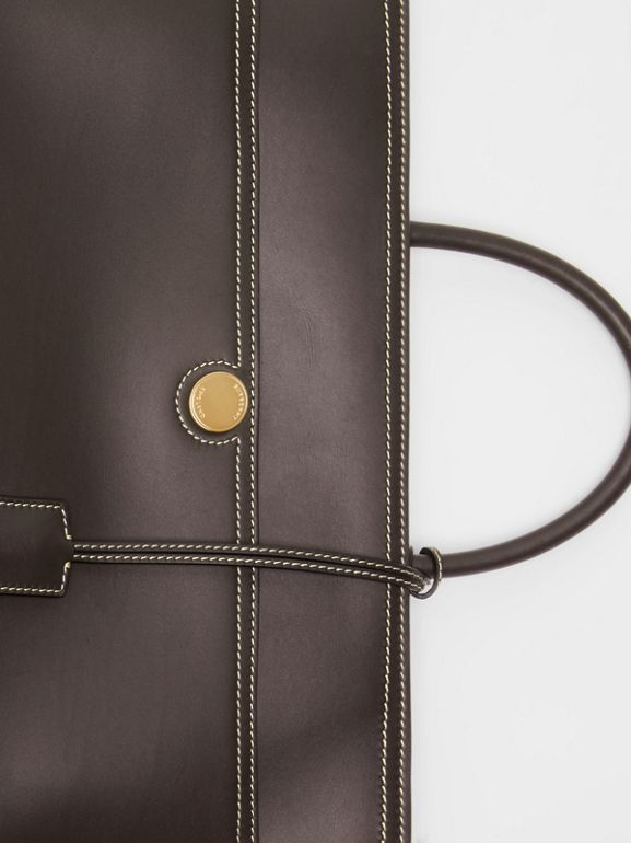 Leather Society Top Handle Bag in Coffee - Women | Burberry - cell image 1